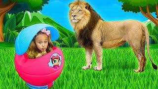 Sasha and Dima play with wild animals at home