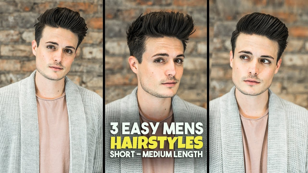 3 Easy Mens Hairstyles Short Medium Length Hair Tutorial Blumaan 2018 Youtube