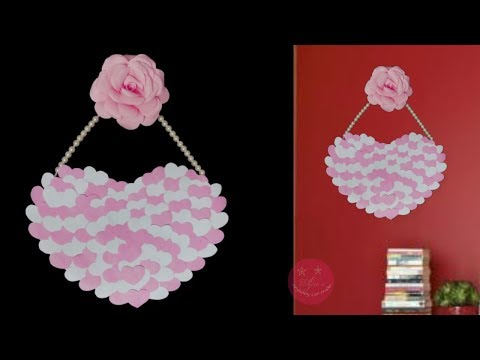 EASY Pink PAPER HEART AND ROSE WALL HANGING | BEST FROM WASTE | kids room craft