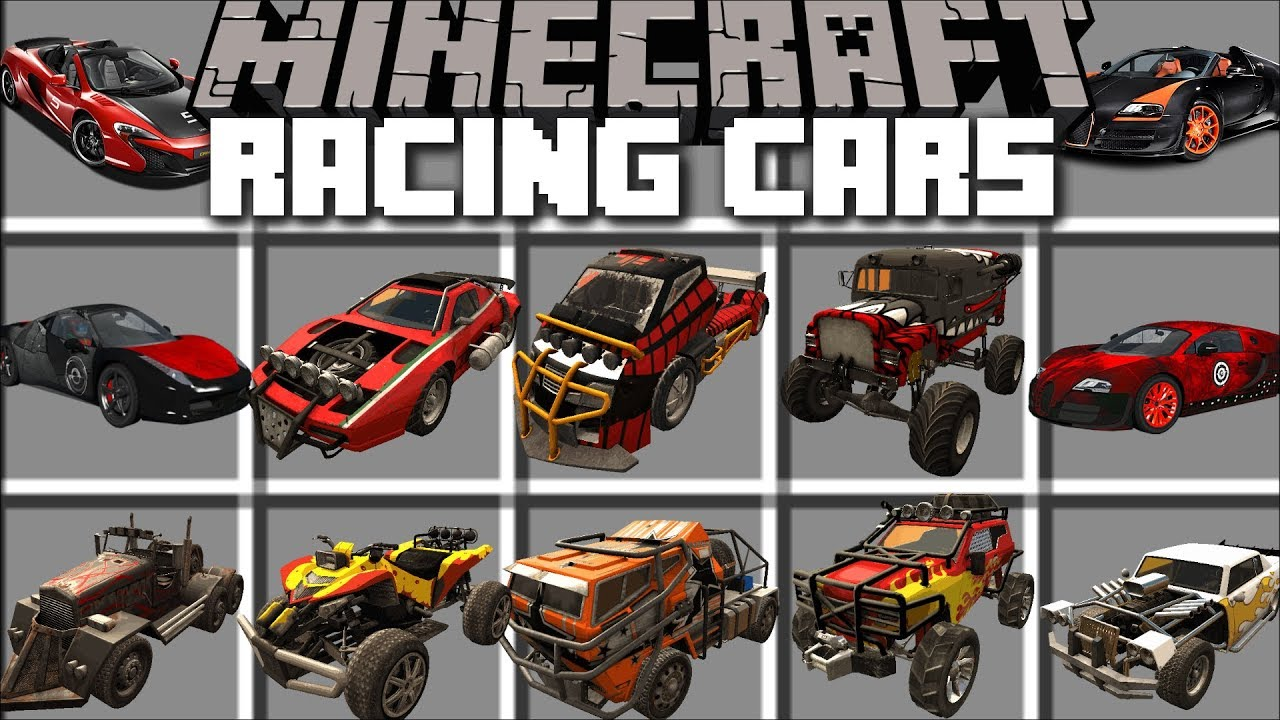 Minecraft RACING CAR MOD / DRIVE AROUND IN SUPER FAST CARS AND