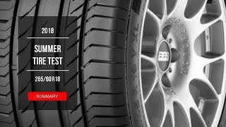 2018 SUV Summer Tire Test Results | 265/60 R18