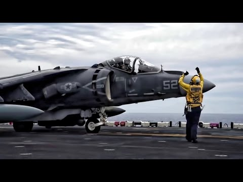 AV-8B Harrier Vertical Landing & Takeoff Aboard USS Wasp