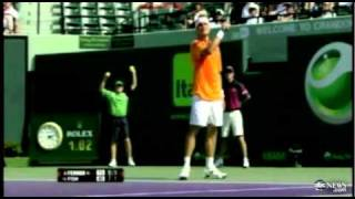 ✖ Tennis star has meltdown, hits ball at crying baby in the stands