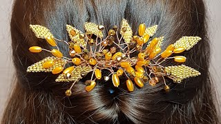 Beaded hairpin/hair comb/Заколка из бусин и бисера/Гребень из бусин/@DIY TamireStudio СВОИМИ РУКАМИ