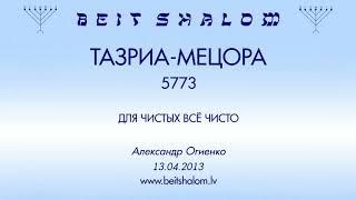 «ТАЗРИА-МЕЦОРА» 5773 «ДЛЯ ЧИСТЫХ ВСЁ ЧИСТО» (А.Огиенко. 13.04.2013)