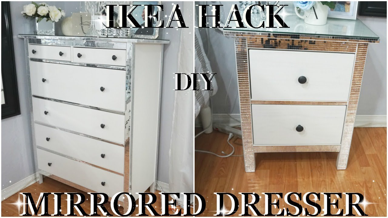 IKEA HACK  2018 INEXPENSIVE  DIY BLING MIRROR DRESSERS  DIY ROOM DECOR DRESSER MAKEOVER  YouTube