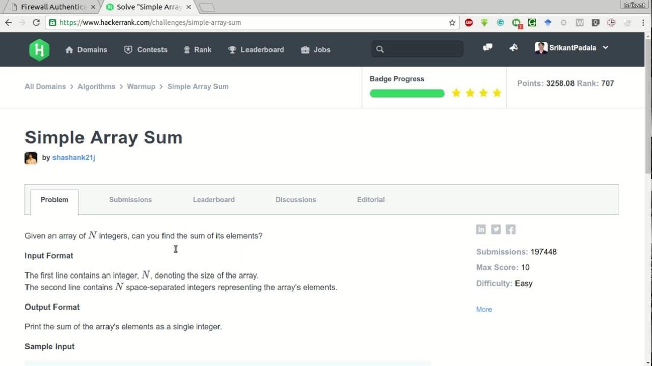 HackerRank   Simple Array Sum Solution
