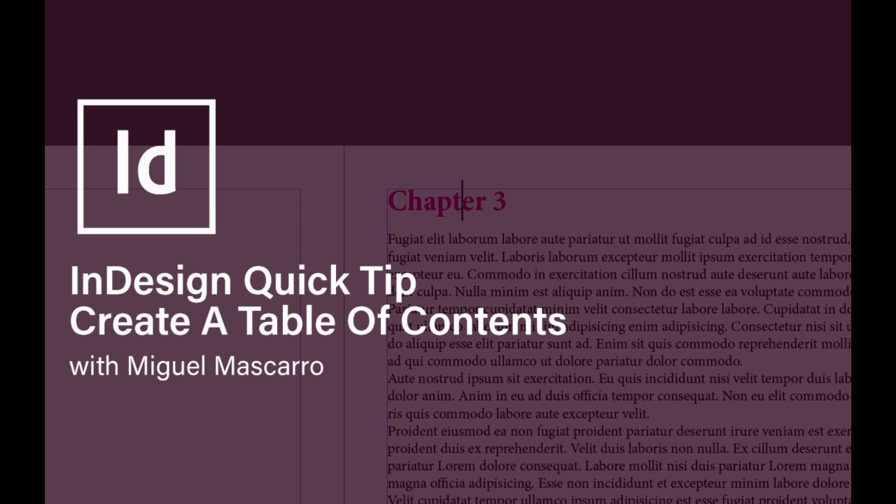 Create a Table Of Contents in InDesign - YouTube