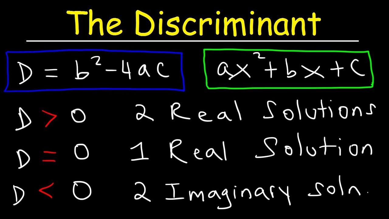 How To Determine The Discriminant of a Quadratic Equation ...