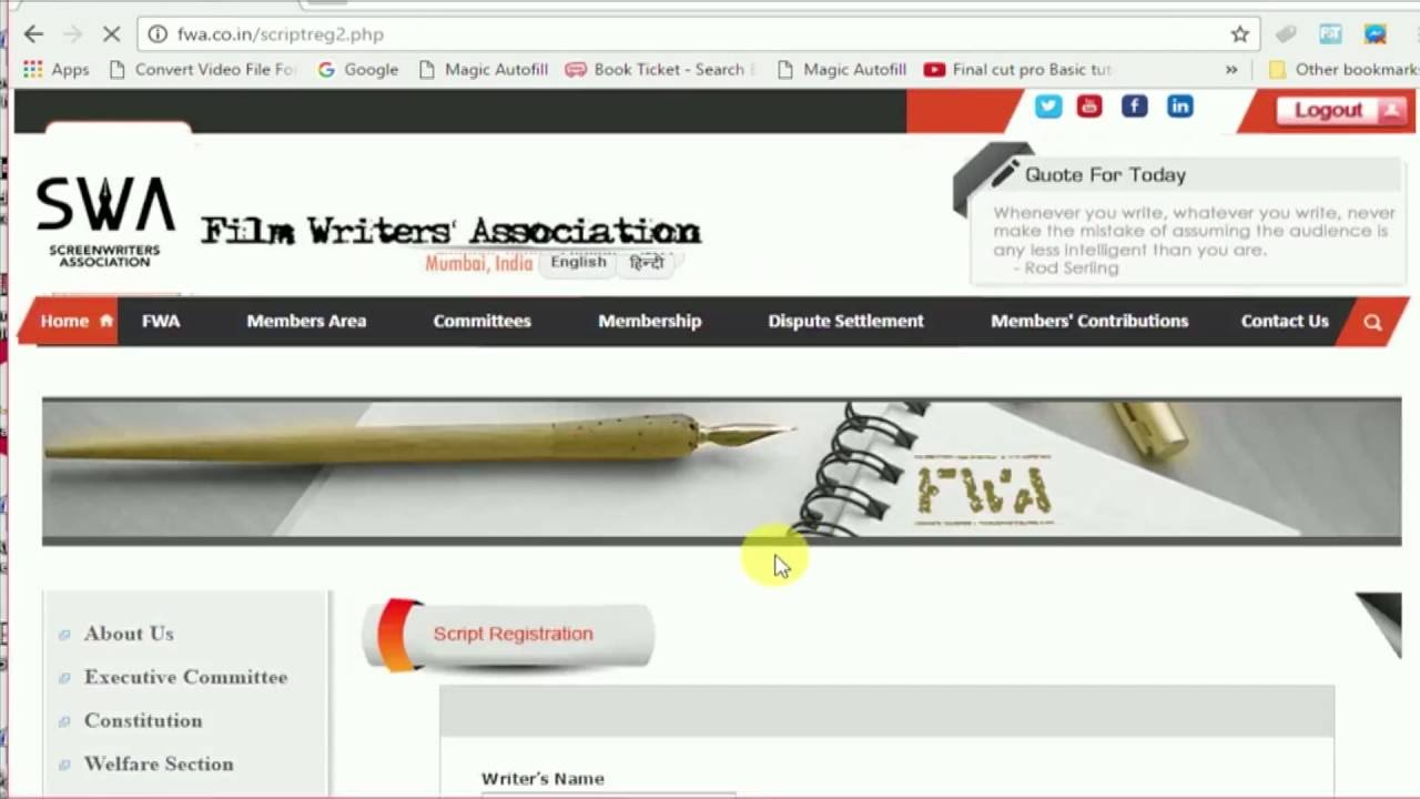 How To Register A Film Script In Fwa Online Registration 2016