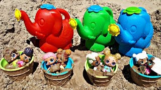 Elephant Toy for children Watering Cans and LOL Dolls Washing Video Play with Sand Toys on the Beach