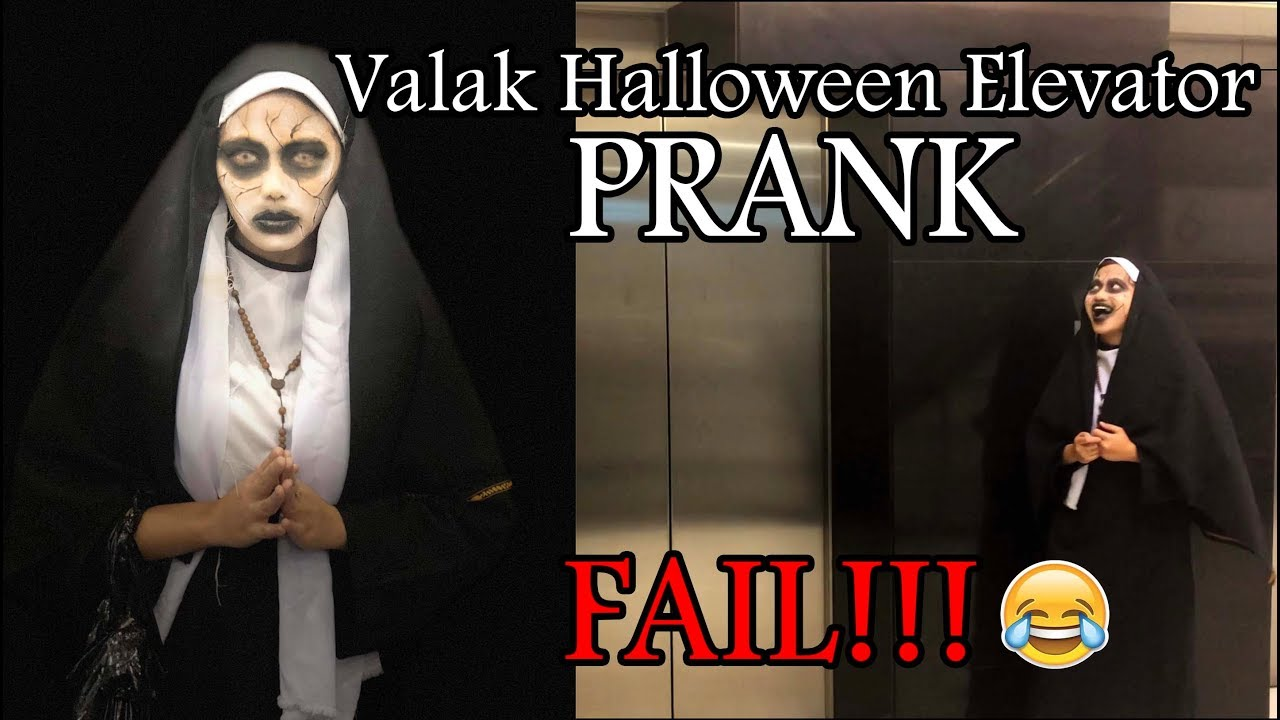 valak halloween make up and elevator prank! fail!!! - youtube