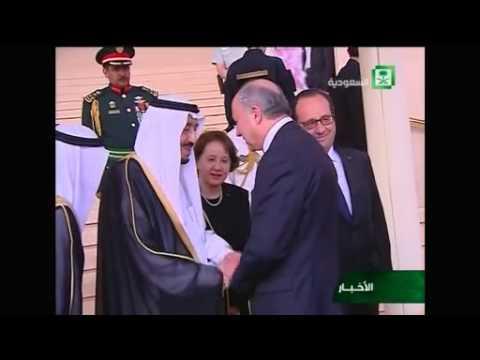 French President Hollande arrives in Saudi Arabia, meets King Salman