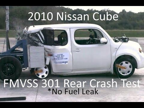 2009-2014 Nissan Cube FMVSS 301 Rear Crash Test (50 Mph - No Fuel Leak)