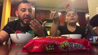 Wife almost faints from Spicy Noodle Challenge!!