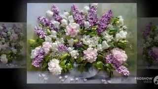 Вышивка лентами. Цветы в вазе.(Цветы - источник вдохновения, И неизменный знак Любви, Они поднимут настроение, Пусть даже вышивка они......, 2014-10-17T10:10:34.000Z)