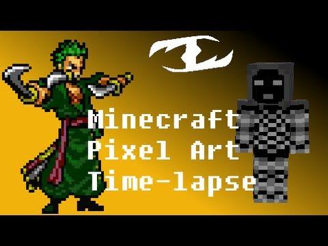 Roronoa Zoro From One Piece Minecraft Pixel Art Time Lapse Youtube