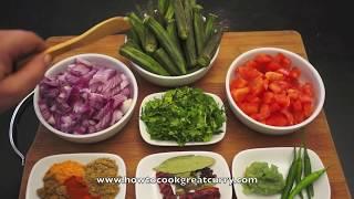 Curry - Bhindi Fry Recipe - Indian Okra Ladies Fingers Spicy Vegan Cooking
