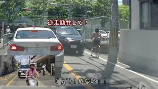 【よく見かける光景】逆走自転車の無神経な進入に、SUVが急停車!