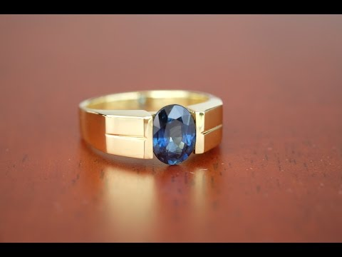 bkgjewelry.com   Ordered 18K Yellow Gold Blue Sapphire Ring [RS0054]