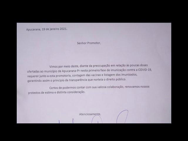 LUCAS LEUGI E MOISÉS VÃO AO MP PARA REQUERER RELAÇÃO DOS VACINADOS CONTRA A COVID-19 EM APUCARANA