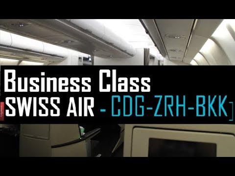 Swiss Air Lines A340-300 Business Class Paris to Zurich to Bangkok CDG-ZRH-BKK  | TRIP REPORT