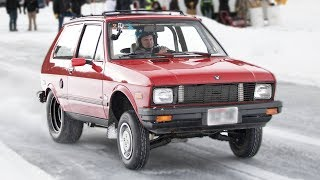 Tiny Yugo goes 100mph ON ICE - SKETCHY! thumbnail