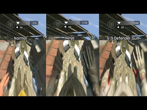 Dying Light Fall Damage Comparison 2 Normal, Ninja and V-9 Defender Suit from Astronaut Bundle DLC |