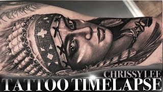TATTOO TIME LAPSE | LADY IN NATIVE AMERICAN HEADDRESS | CHRISSY LEE