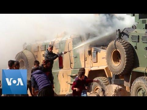 Syria Protesters Hurl Rocks at Joint Turkey-Russia Patrol Near Kobane