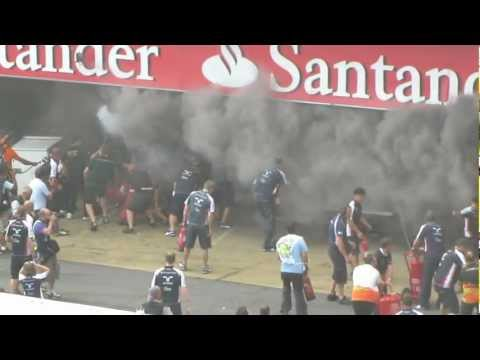 Williams F1 Team garage fire after their race victory and team celebrations. Part 1