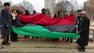 Pan African Flag raised in St. Louis, Missouri February 1, 2018