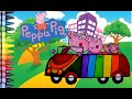 Peppa Pig In a Rainbow Car - Coloring Book Fun for kids to Learn art