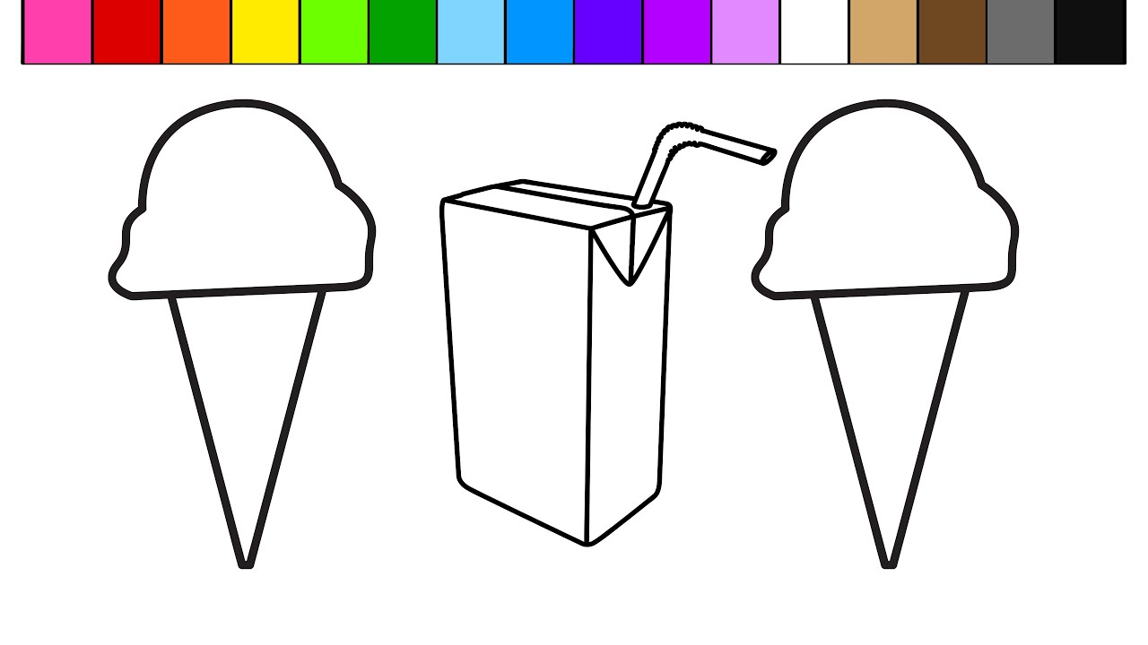 Colouring in juice - Learn Colors For Kids And Color This Ice Cream Juice Box Coloring Page