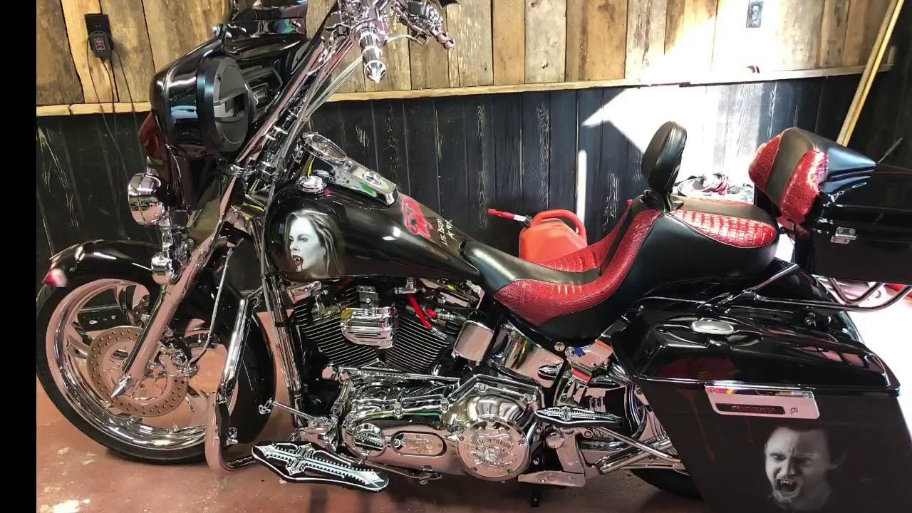 True Blood Harley Softail W/ Shotgun Shocks air ride suspension and Hogfoot Center Stand