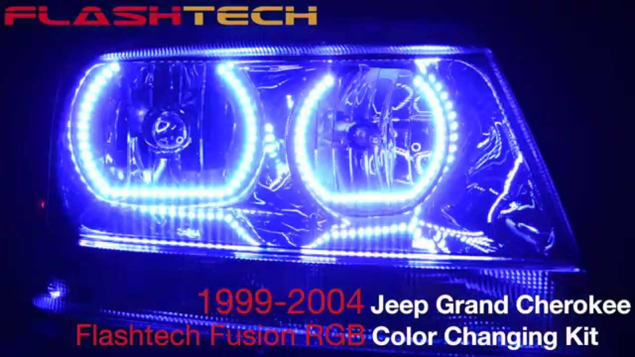 Jeep Xj Halo Headlights Wiring Schematic Diagrams 2000 Cherokee Headlight Grand Square V 3 Color Change Led Kit Blue