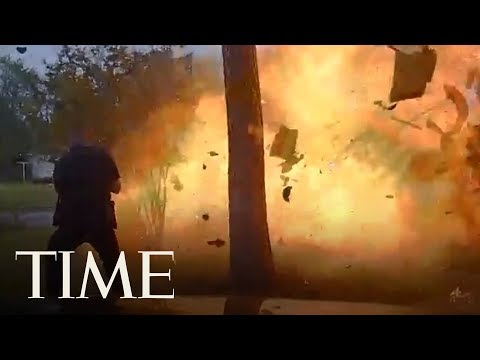 Video Shows Texas Police Officer Nearly Caught In Fiery House Explosion | TIME