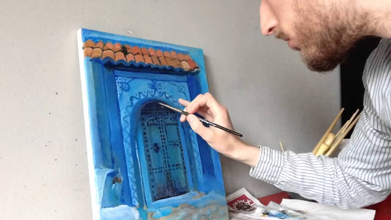 Painting a blue door in Chefchaouen & Painting a blue door in Chefchaouen - YouTube