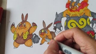 How to draw Pokemon: No. 498 Tepig, No. 499 Pignite, No.500 Emboar