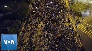 Aerial Views of Nighttime Hong Kong Protest