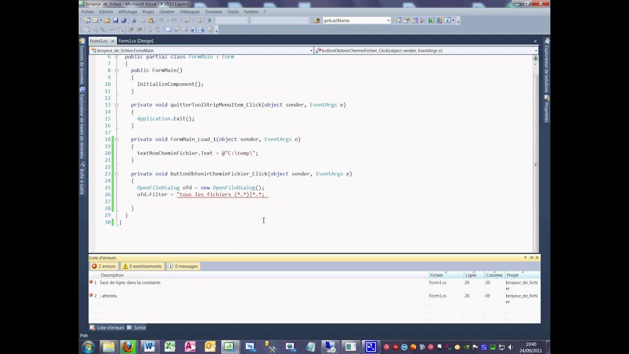 Tutoriel 48 broyeur de fichier en C# en français troisième partie