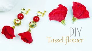 How to make tassel flower at home | DIY Flower tassel earrings | Beads art