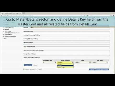 ApPHP DataGrid Wizard   Master Details Model