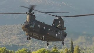 CH-47 Chinook Helicopter-Low Pass, Touch and Go, Backwards Takeoff-Hellenic Army Airshow Display