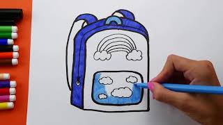 How To Draw and Coloring Backpack for Kids. Backpack Coloring pages for children