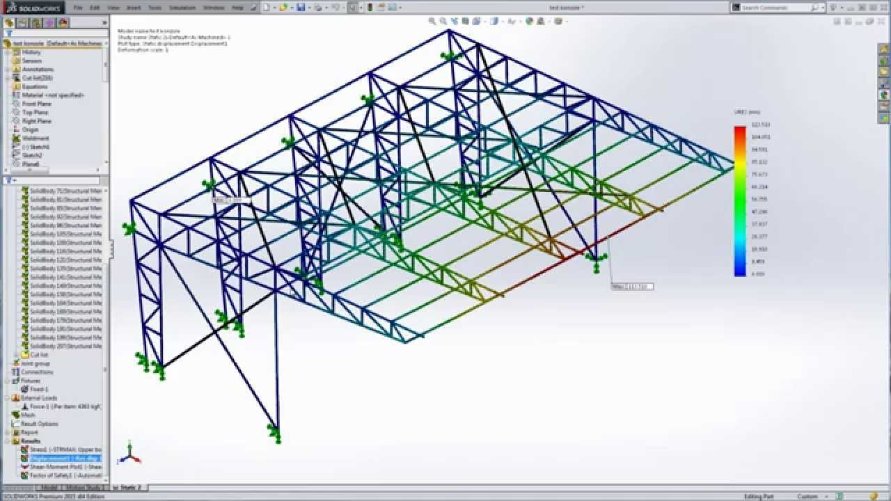 Truss Stress Diagram Solidworks Steel Structures Youtube
