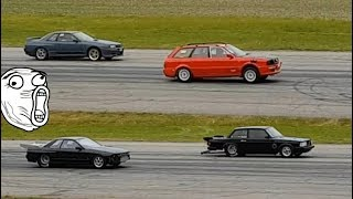 Sweden Drag Race - Brutal launch and burnout - Skyline Audi RS2 Volvo Bmw American Muscle
