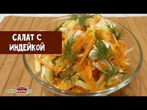 Вкусный Салат с отварной Индейкой и овощами// Простые Рецепты