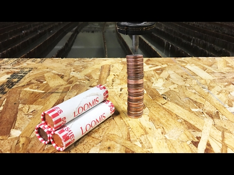 Roll Of Pennies vs A 60000 PSI Waterjet - Water Cutting Metal Penny - Interesting Experiment