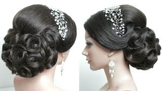 Bridal hairstyle for long hair tutorial. Prom updo step by step